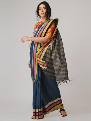 Blue-Green Linen Saree