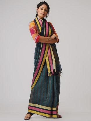 Blue-Black Linen Saree