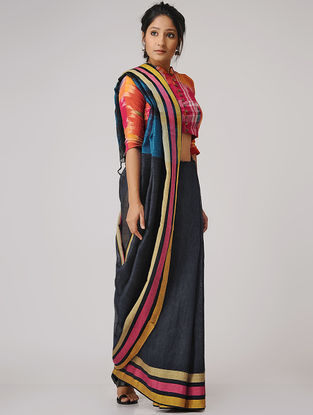 Black-Pink Linen Saree