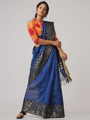 Blue-Beige Linen Saree