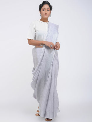 Blue Linen Saree with Zari and Tassels