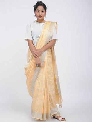 Beige Linen Saree with Zari and Tassels