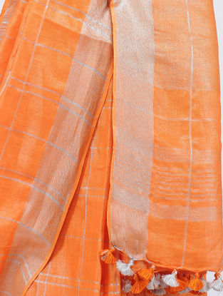 Orange Linen Saree with Zari and Tassels