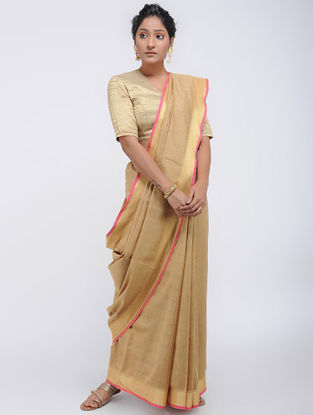 Beige Linen Saree with Zari
