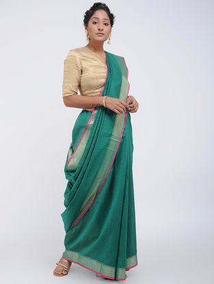Green-Beige Linen Saree with Zari