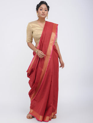 Red Linen Saree with Zari