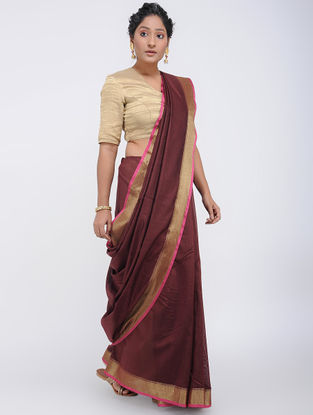 Maroon-Ivory Linen Saree with Zari