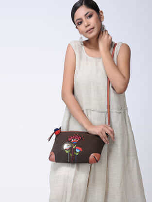 Brown Hand-Embroidered Canvas Sling Bag with Leather Embellishments