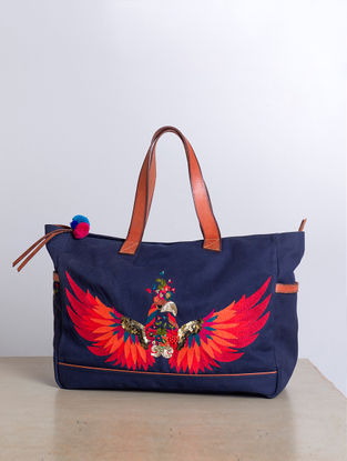 Navy Blue Hand-Embroidered Canvas Handbag with Sequins Embellishments