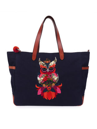 Navy Blue Hand-Embroidered Canvas Tote with Sequin Embellishments