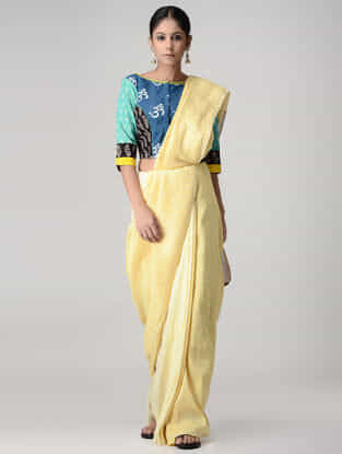 Blue-Green Ikat Cotton Block-printed Blouse with Hand-embroidered and Zari