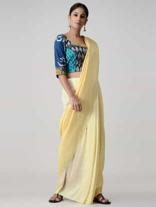 Grey-Green Block-printed and Kalamkari-painted Ikat Cotton Blouse with Hand-embroidered and Zari