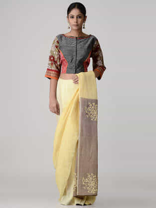 Black-Red Kalamkari-painted and Embroidered Ikat Cotton Blouse
