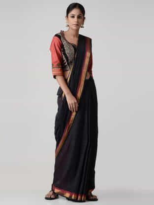 Black-Red Ajrakh-printed and Embroidered Mangalgiri Cotton Blouse with Zari