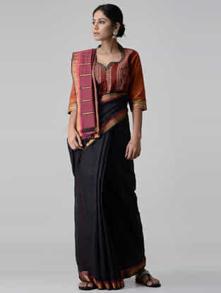 Maroon-Orange Ajrakh-printed and Embroidered Mangalgiri Cotton Blouse with Zari
