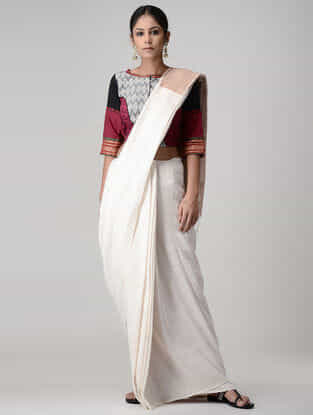 Grey-Maroon Embroidered Ikat Cotton Mul Blouse with Zari