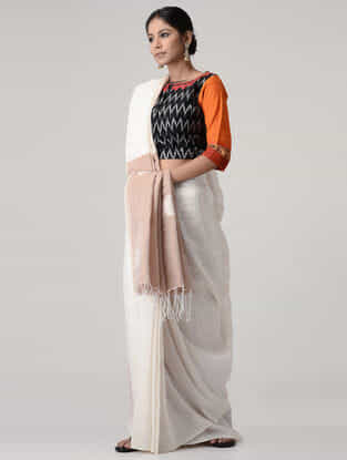 Black-Orange Embroidered Ikat Cotton Blouse