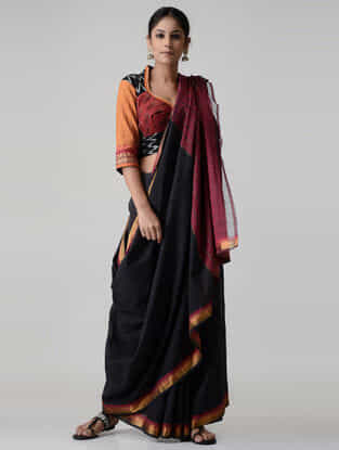 Black-Red Block-printed and Embroidered Ikat Cotton Blouse with Zari