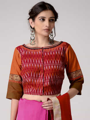 Orange-Red Embroidered Ikat Chettinad Cotton Blouse