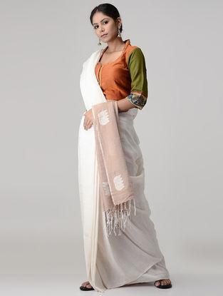 Orange-Green Embroidered and Kalamkari-painted Chettinad Cotton Blouse