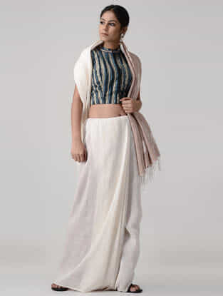 Ivory-Blue Block-printed and Kalamkari-painted Cotton Blouse