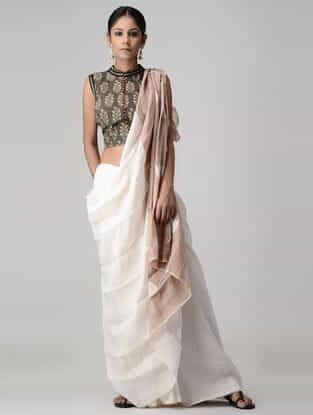 Brown-Beige Ajrakh-printed and Kalamkari-painted Cotton Blouse
