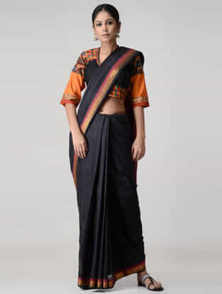 Black-Orange Embroidered and Kalamkari-painted Mangalgiri Cotton Blouse with Zari
