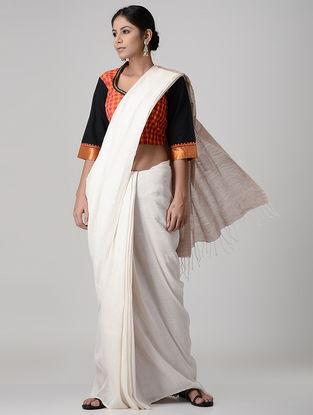 Orange-Black Embroidered Mangalgiri Cotton Blouse with Zari