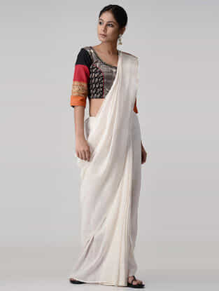 Grey-Red Block-printed Chettinad Cotton Blouse with Zari and Tassels