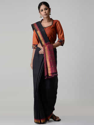 Maroon-Orange Embroidered and Kalamkari-painted Chettinad Cotton Blouse