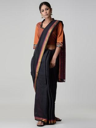 Maroon-Orange Embroidered and Kalamkari-painted Chettinad Cotton Blouse