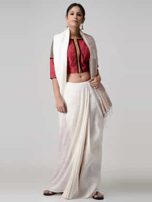 Red-Grey Embroidered Chettinad Cotton Blouse
