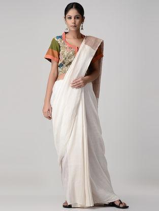 Green-Peach Kalamkari-painted Silk Blouse