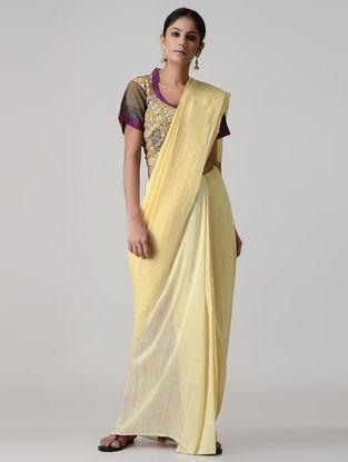 Ochre-Purple Block-printed and Kalamkari-painted Silk Blouse