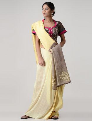 Grey-Pink Block-printed and Kalamkari-painted Silk Blouse