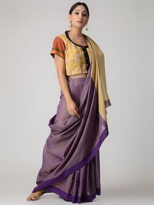 Ochre-Orange Silk Kalamkari-painted Blouse