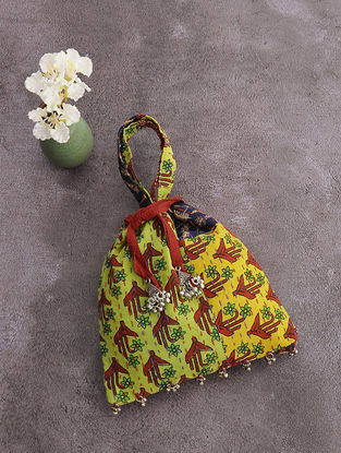 Multicolored Kantha-Embroidered Cotton Drawstring Potli with Metal Embellishments