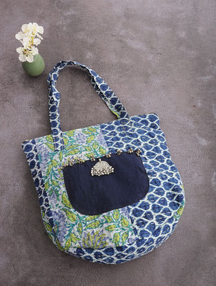 Multicolored Kantha-Embroidered Cotton Round Tote with Metal Embellishments