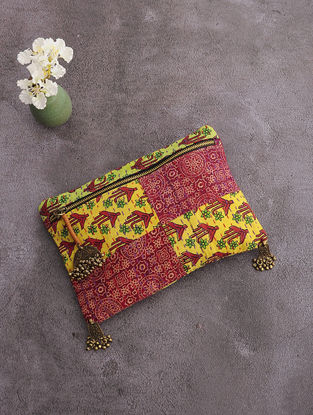 Multicolored Kantha-Embroidered Cotton Pouch with Metal Embellishments