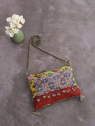 Multicolored Kantha-Embroidered Cotton Sling Bag with Metal Embellishments