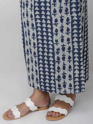 Indigo Block-printed Cotton Wrap Around Skirt