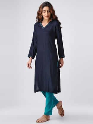 Navy Blue Hand-embroidered Cotton Slub Kurta