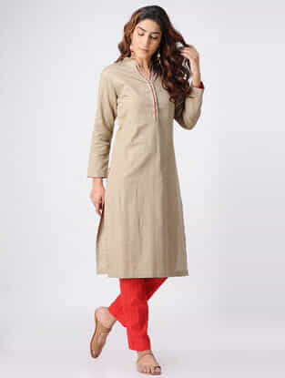 Beige Hand-embroidered Cotton Slub Kurta