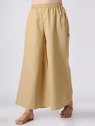 Beige Elasticated Waist Cotton Slub Palazzos