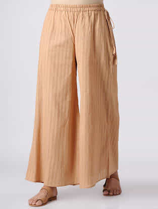 Brown Elasticated Waist Cotton Slub Palazzos