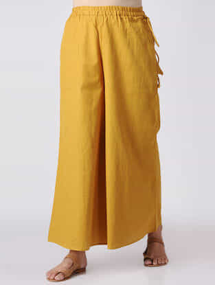 Mustard Elasticated Waist Cotton Slub Palazzos