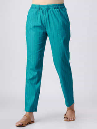 Teal Elasticated Waist Cotton Slub Pants