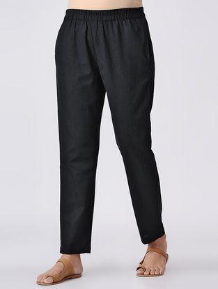 Black Elasticated Waist Cotton Slub Pants