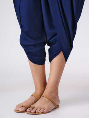 Blue Elasticated Waist Cotton Dhoti Pants