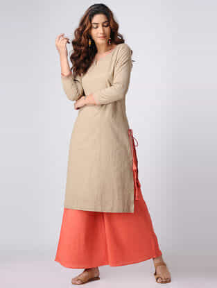 Beige Cotton Slub Kurta with Tassels
